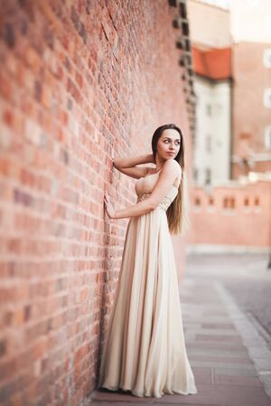 tanned body: Beautiful girl with long hair long dress perfect shape tanned body posing near wall. Stock Photo