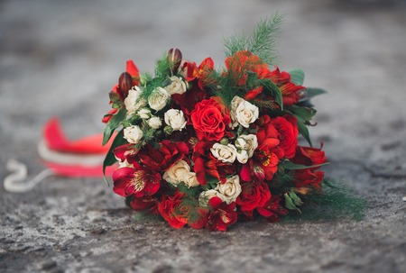 occasion: Wedding perfect bridal bouquet of different flowers. Stock Photo