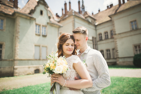 misterious: Just married poses in the light of sunset with an old fortress on the background.