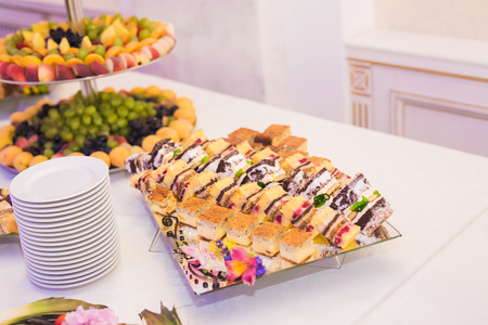 many babies: Delicious wedding reception candy bar dessert table. Stock Photo