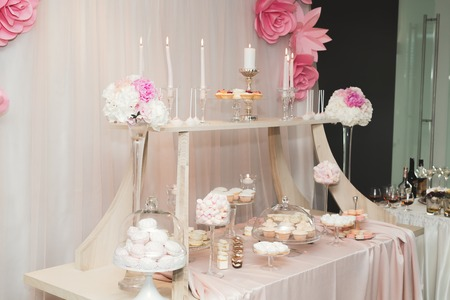Buffet with a variety of delicious sweets, food ideas, celebration. Stock Photo