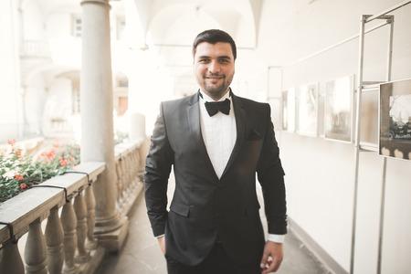 dinner jacket: Stylish groom posing on background old castle.