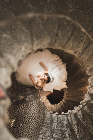 brune: Beautiful bride in magnificent dress stands alone on stairs Stock Photo