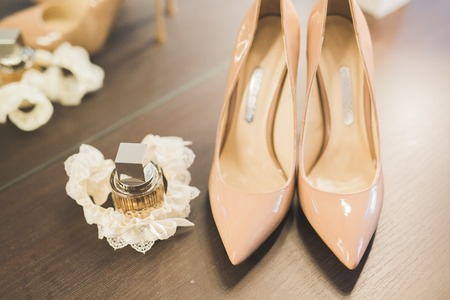 White beautiful wedding shoes for women, bride Stock Photo