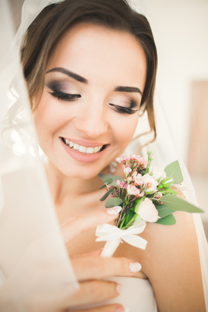 Portrait of beautiful bride with fashion veil at wedding morning. Stock Photo