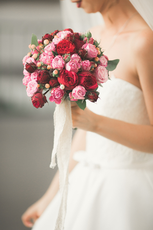 Beautiful luxury wedding bouquet of different flowers. Stock Photo