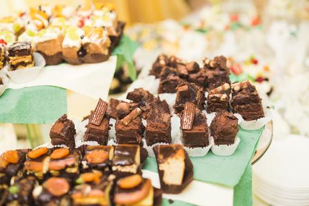 Delicious wedding reception candy bar dessert table
