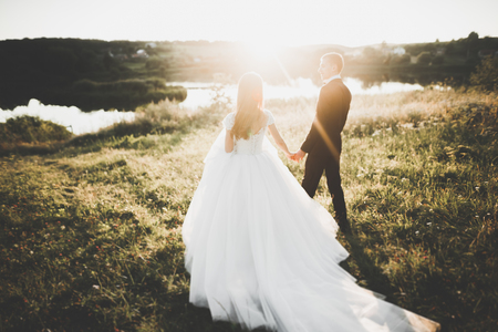 Beautiful romantic wedding couple of newlyweds hugging in park on sunset Reklamní fotografie
