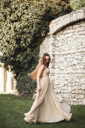 Beautiful girl, model with long hair posing in park near great wall. Krakow Vavel