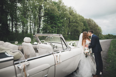 Stylish wedding couple, bride, groom kissing and hugging on retro car Stok Fotoğraf - 87287999