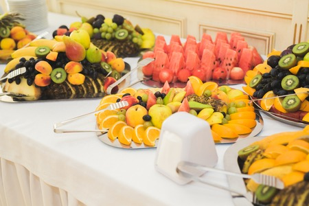 Different fresh fruits on wedding buffet table Stock Photo - 92463663