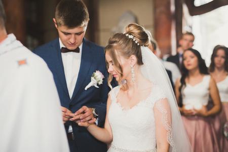 신부와 신랑 결혼식 반지를 교환합니다. 세련된 커플 공식 행사