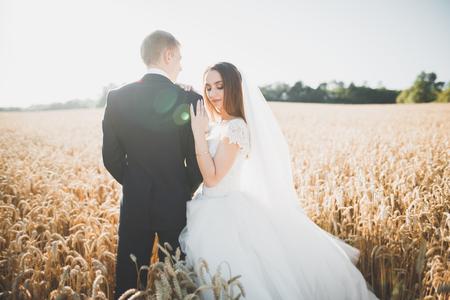 Baciare le coppie di nozze nel ritratto del primo piano della natura di primavera Archivio Fotografico - 93645801