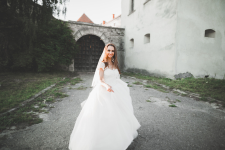 Beautiful elegant bride with perfect wedding dress and bouquet posing near old castle