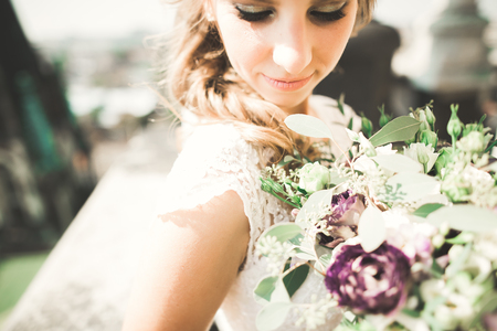 Bride holding big and beautiful wedding bouquet with flowers Stock fotó