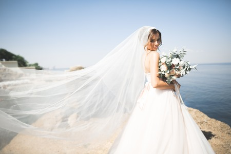 Lovely bride in white wedding dress posing near the sea with beautiful background Stock Photo