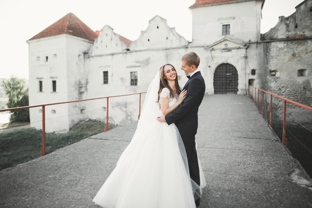 Beautiful fairytale newlywed couple hugging near old medieval castle Stock Photo