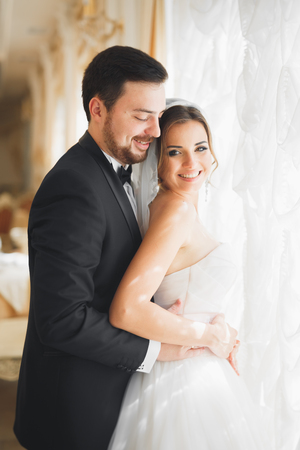 美しいホテルでポーズをとる新婚夫婦の結婚式の写真撮影 写真素材