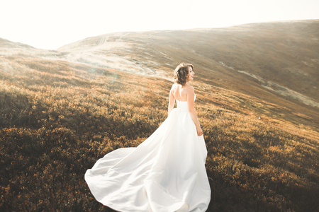 Happy beautiful bride outside on a summer meadow at the sunset with perfect view