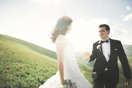 Beautiful fabulous happy bride and stylish groom posing on the background of the sunny stunning mountains