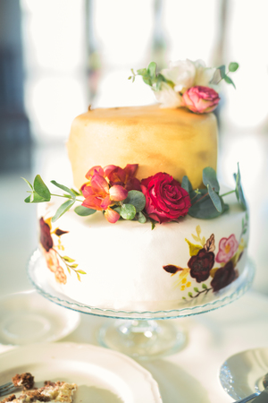 Luxury decorated wedding cake on the table Stock Photo
