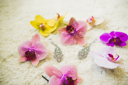 Luxury wedding jewelry for bride. Preparing in the morning Stock Photo