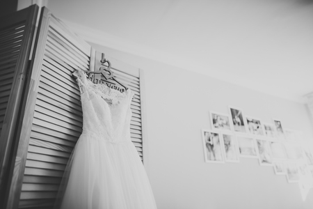 The perfect wedding dress in the room of the bride Stock Photo