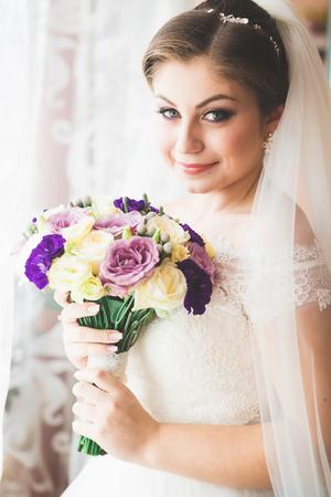Wonderful luxury wedding bouquet of different flowers