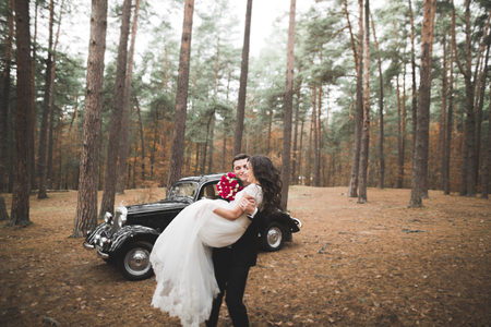 Just married happy couple in the retro car on their wedding