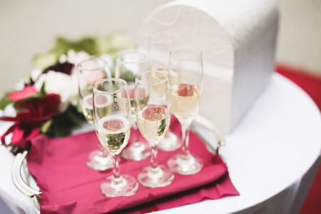 Luxury glasses with champagne on the table Stock Photo