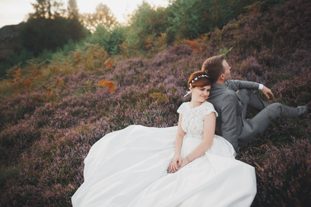 Gorgeous wedding couple kissing and hugging in forest with big rocks Stock Photo