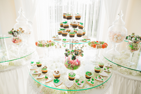 Delicious sweets on wedding candy buffet with desserts, cupcakes Stock Photo - 100689806