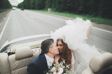 Just married couple in the luxury retro car on their wedding day