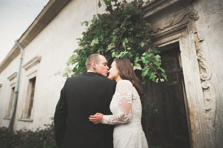 Beautiful fairytale newlywed couple hugging near old medieval