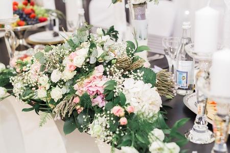 Interior of a restaurant prepared for wedding ceremony. Stock Photo