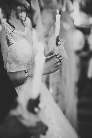 Wedding couple bide and groom get married in a church. Stok Fotoğraf