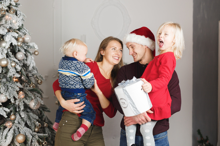 Christmas family open present gift bag, Christmas tree interior