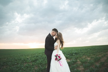 groom is holding and kissing his bride on the background sunset Stock Photo
