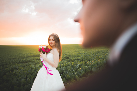 Bride posing and smiles while groom waits on the background Stock Photo