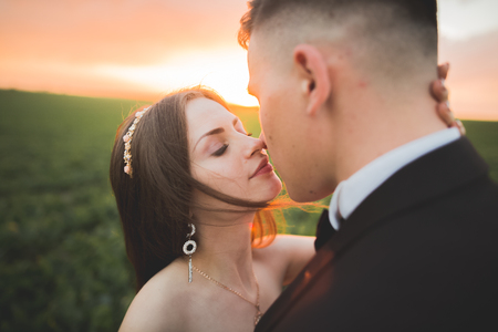 Wedding, Beautiful Romantic Bride and Groom Kissing  Embracing at Sunset Stock Photo