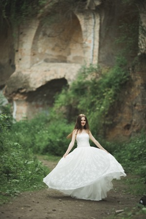 Gorgeous romantic gentle stylish beautiful caucasian bride on the background ancient baroque castle