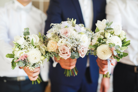 Beautiful wedding bouquet with different flowers, roses Stock Photo - 108339275
