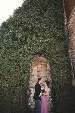 Luxury wedding couple hugging and kissing on the background gorgeous plants