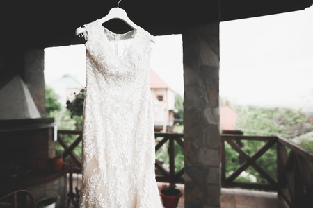 The perfect wedding dress on a hanger