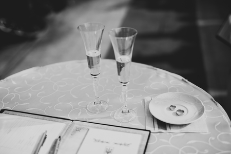 Luxury glasses with champagne on the table Banco de Imagens
