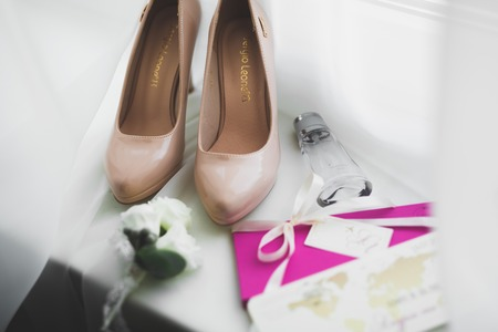 Beautiful stylish wedding shoes for bride. Close-up