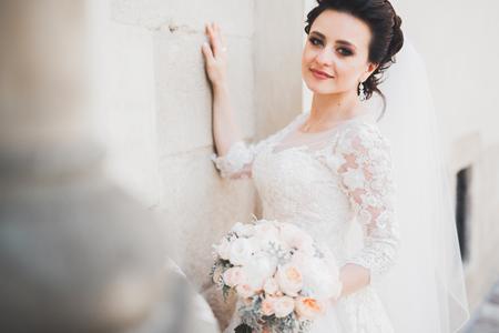 Beautiful luxury bride in elegant white dress