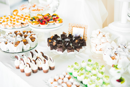 Delicious wedding reception candy bar dessert table