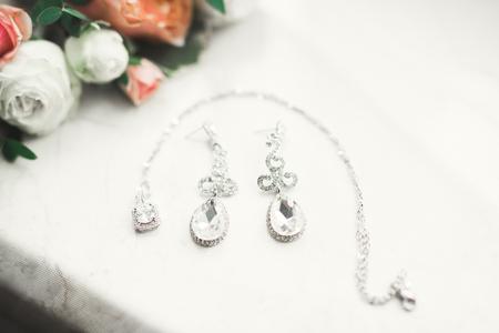 Wedding luxury jewelry for bride on beautiful background Stok Fotoğraf