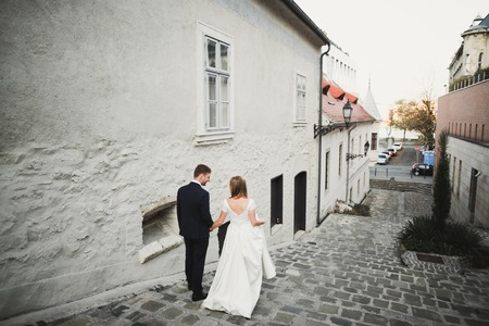 Gorgeous wedding couple walking in the old city Imagens